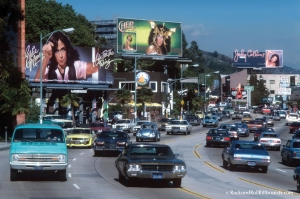 The Sunset Strip with billboards for Cher, Eddie Money and Judy Collins in Los Angeles, California